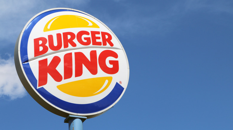 Burger King sign with blue sky background