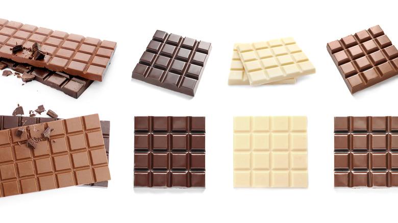 Milk, dark, and white chocolate bars