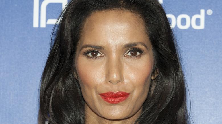 Padma Lakshmi in red lipstick