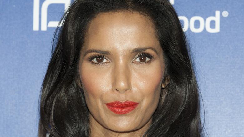 Padma Lakshmi wearing red lipstick