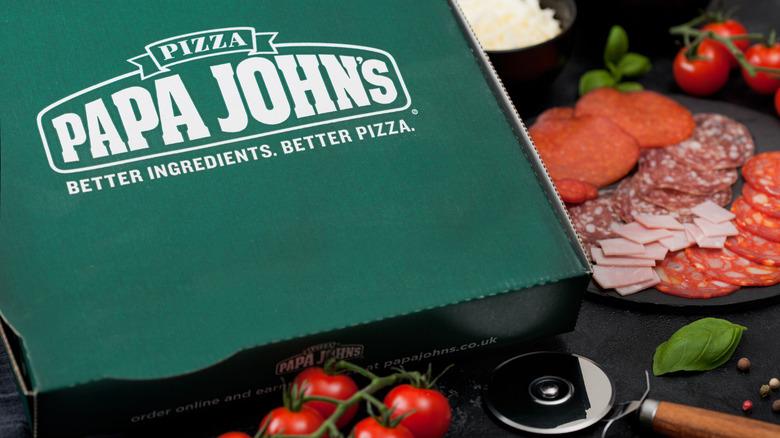 A pizza box from Papa John's