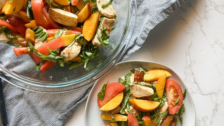 bowls of peach Caprese salad