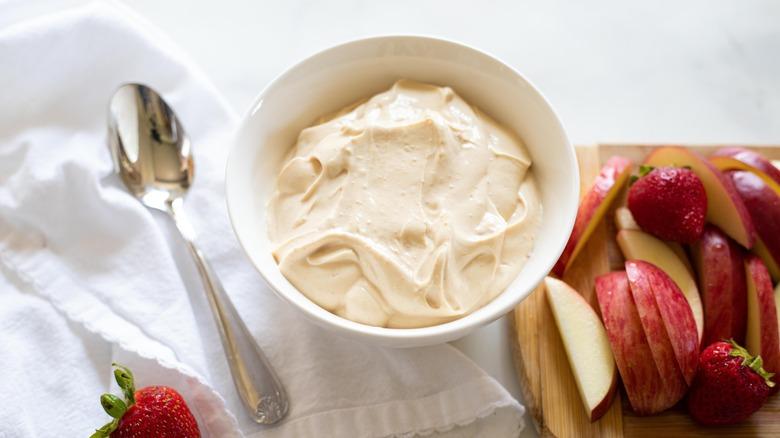 peanut butter dip in bowl