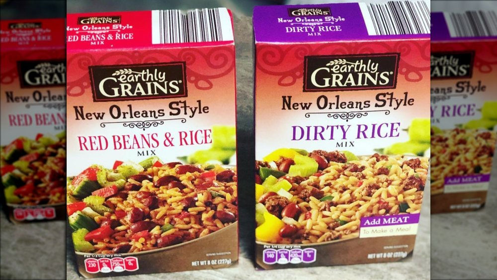 Boxes of Aldi brand Earthly Grains New Orleans style red beans and rice and dirty rice mixes