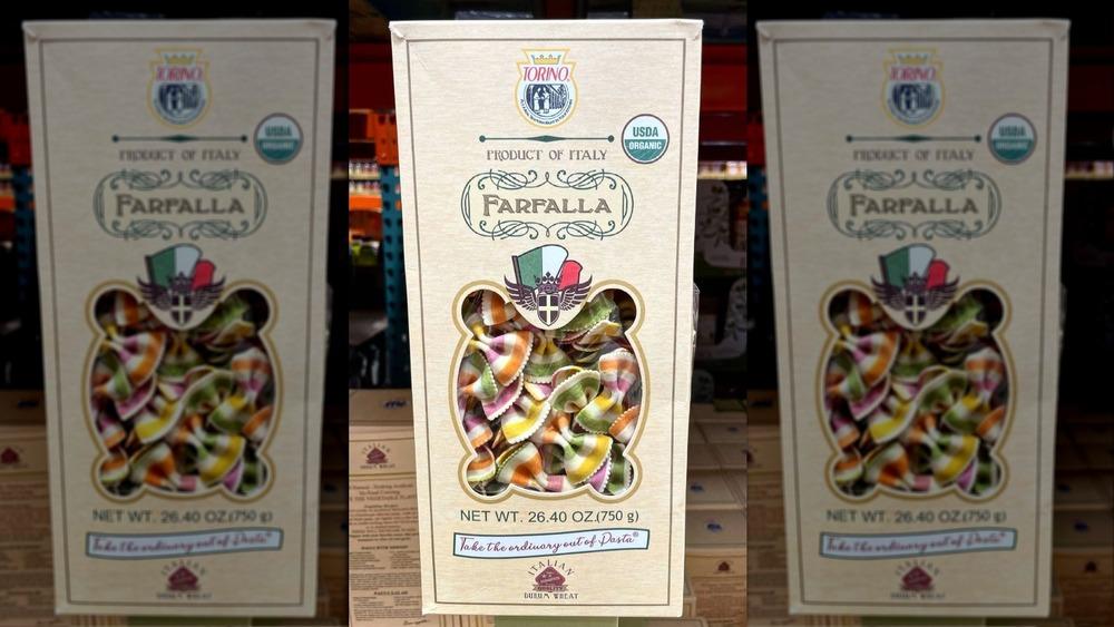 A box of Costco farfalle pasta