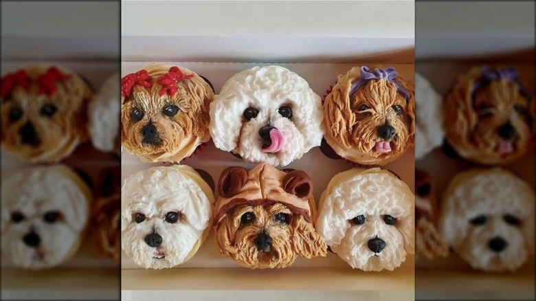 Cupcakes with dog faces