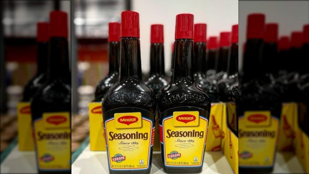 Maggi's Seasoning bottles on Costco shelf