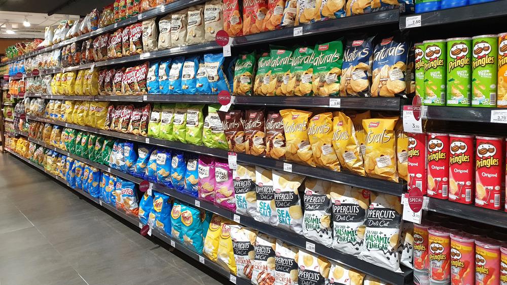 Shelves of snacks