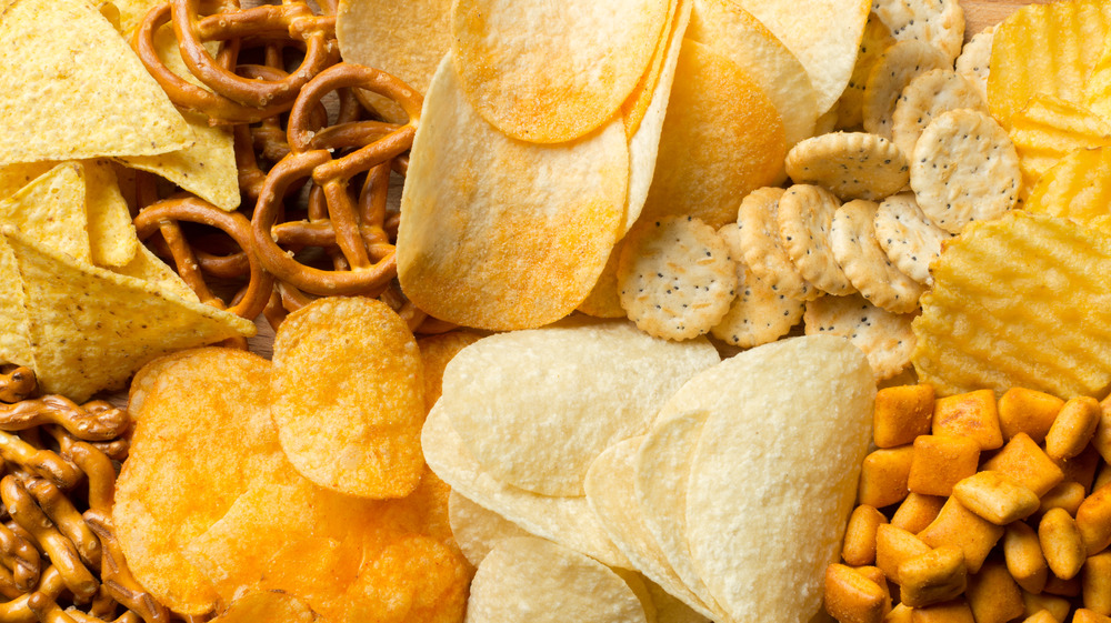 Assortment of chips and snacks
