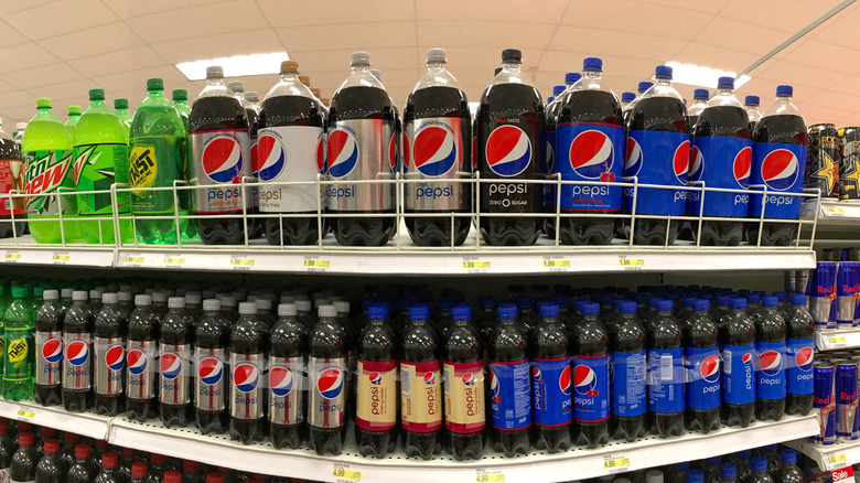 Pepsi bottles on store shelves