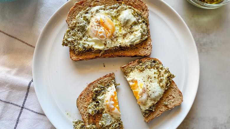 pesto eggs on a plate