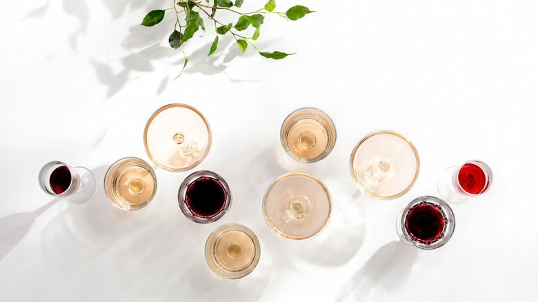 Assorted red and white wine on a table