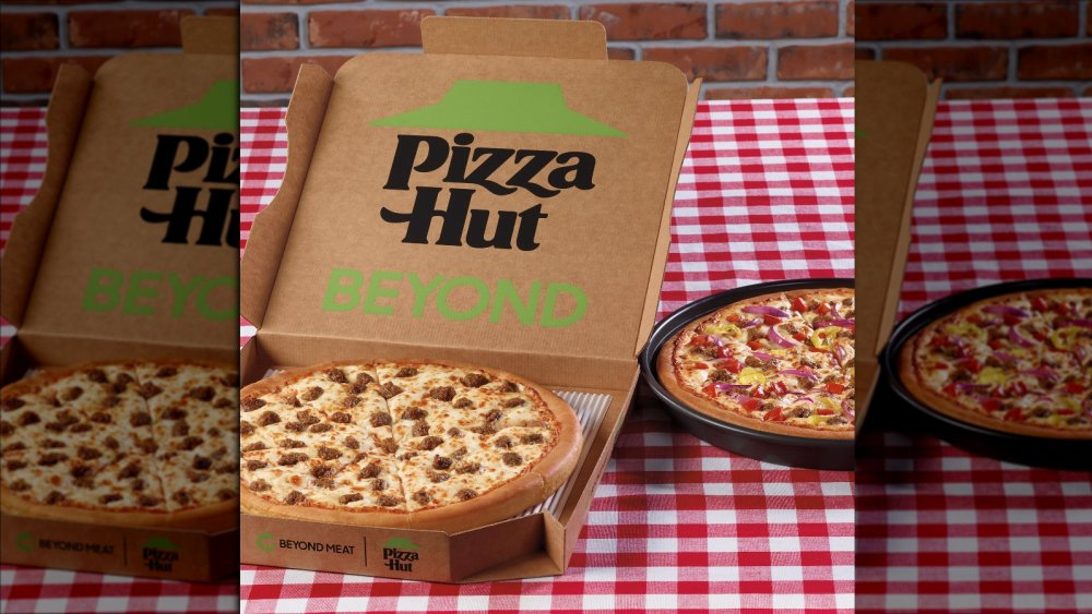 Take out box for Pizza Hut's new Beyond Meat pizzas