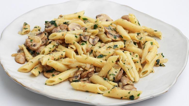 mushroom pasta on a plate
