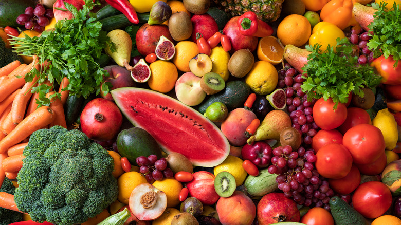 Fruits and veggies assembled together
