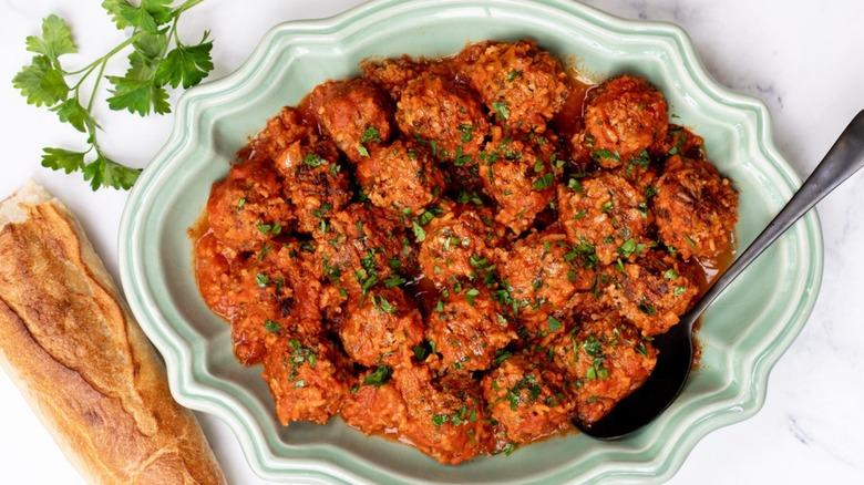 Porcupine Meatballs on a platter