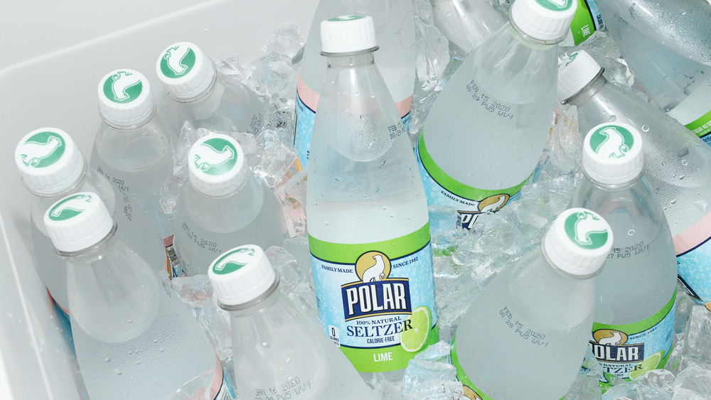 A cooler of Polar Seltzer bottles