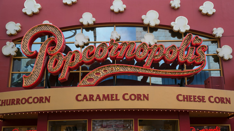 Popcornopolis sign with fake popcorn