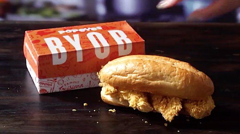 Popeyes chicken sandwich BYOB