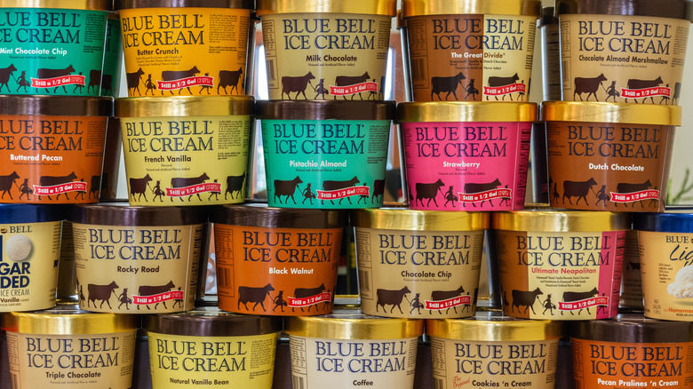 Containers of different flavors of Blue Bell Ice Cream