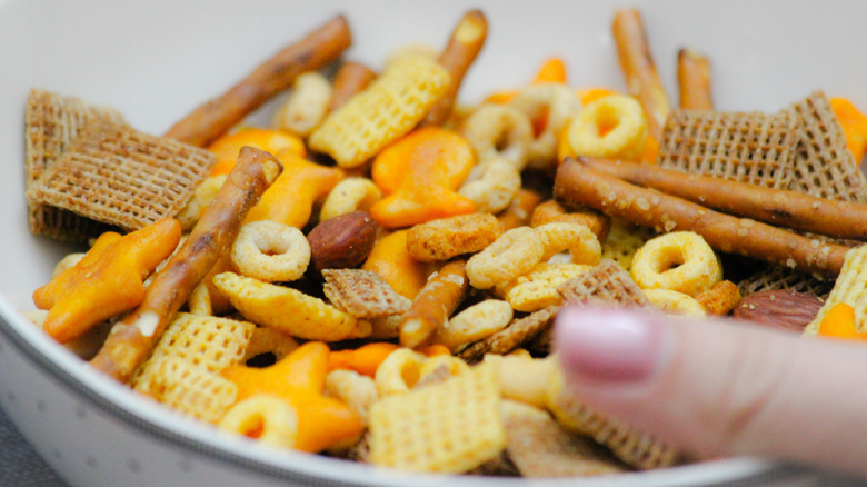 Chex Mix in a bowl