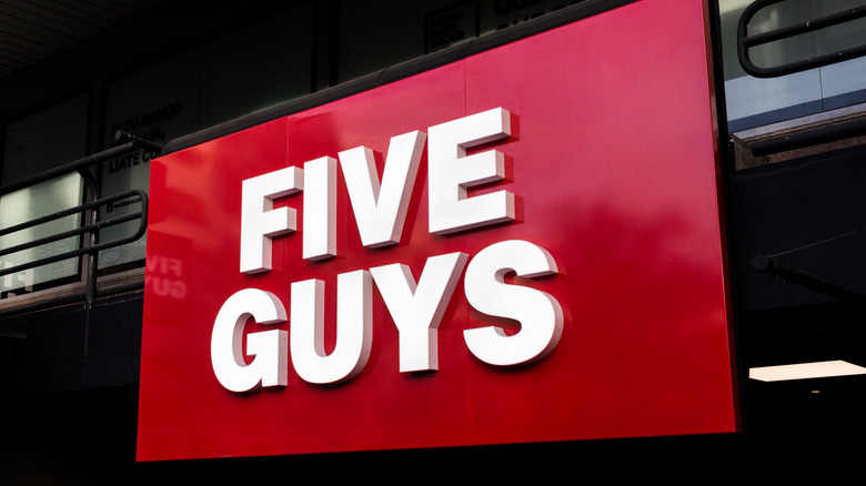 Five Guys restaurant sign in Madrid, Spain