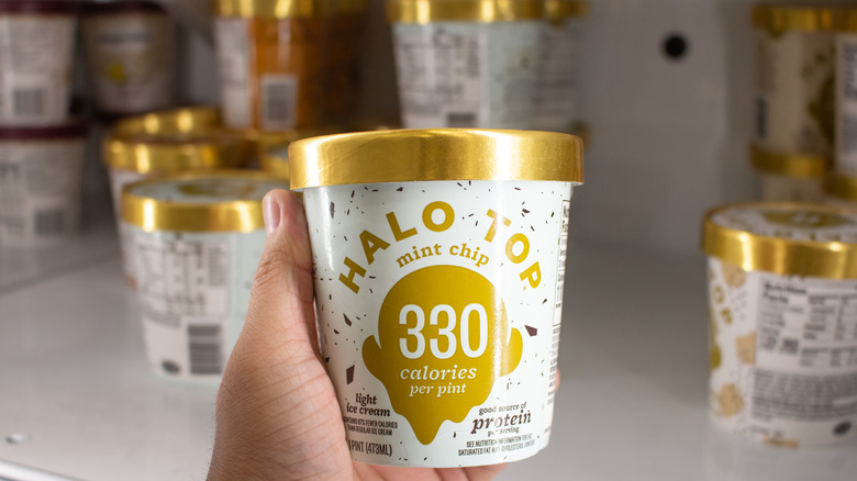 Halo Top ice cream on grocery store shelves