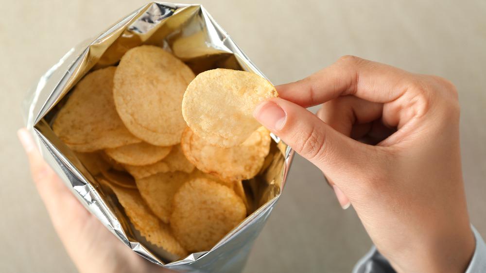Eating potato chips
