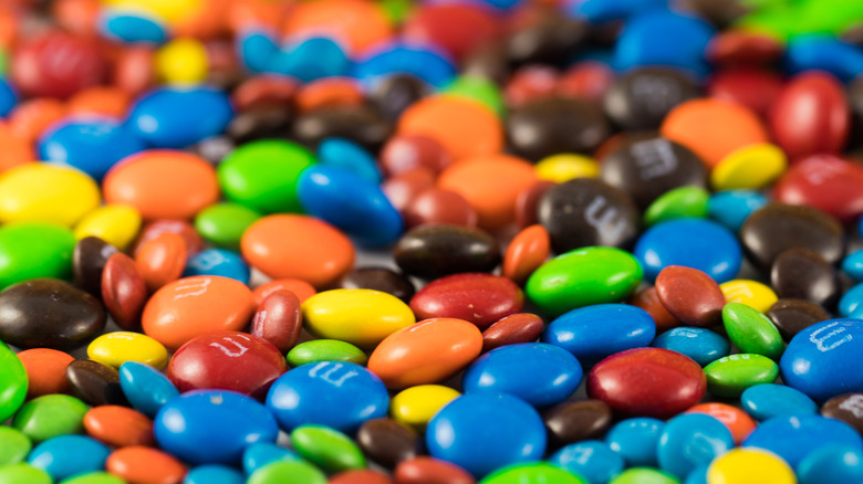 red, yellow, green, blue, and brown M&Ms