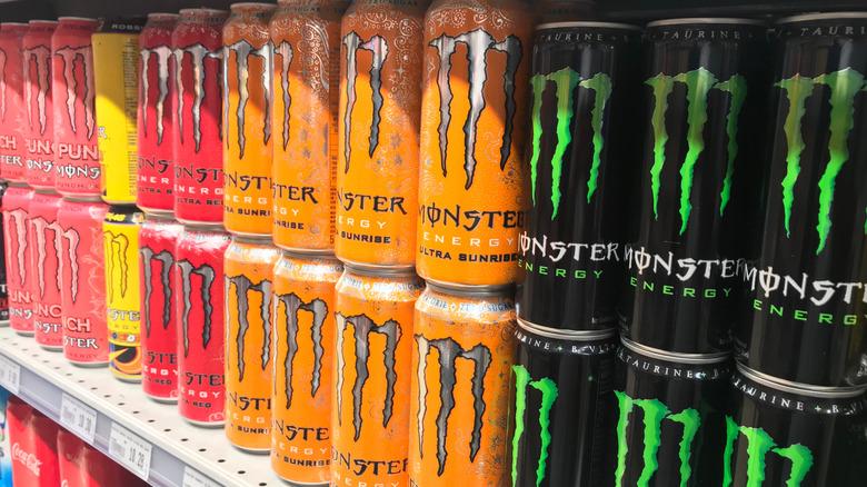 Monster Energy drinks on store shelf