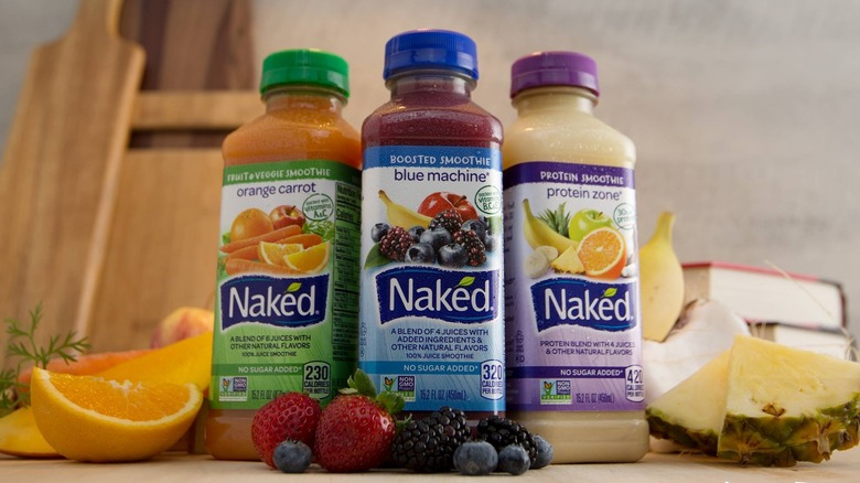 A lineup of Naked Juice Smoothies
