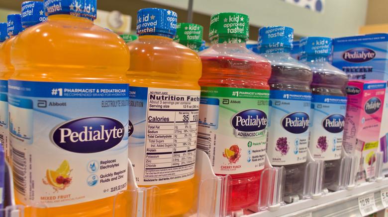 Bottles of Pedialyte on store shelf