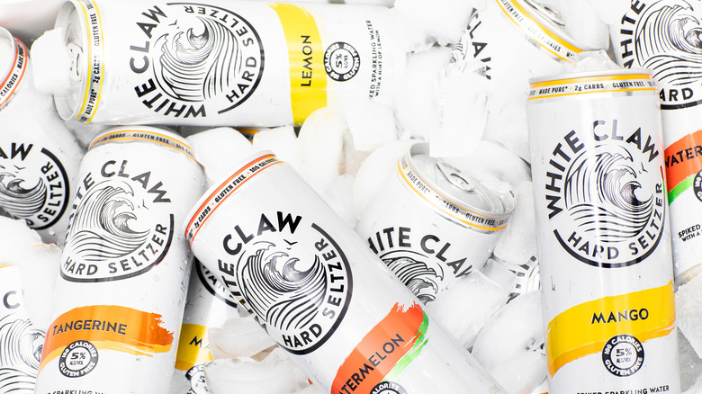 White claw cans on ice
