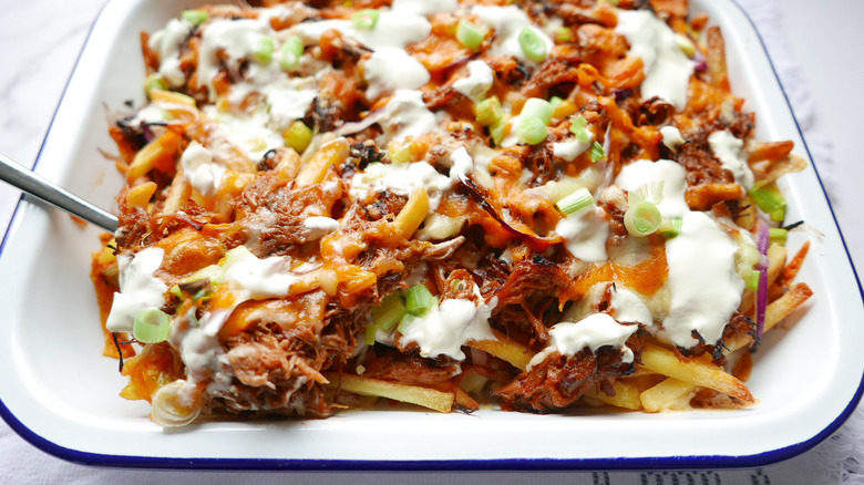 Pork Loaded French Fries on a tray