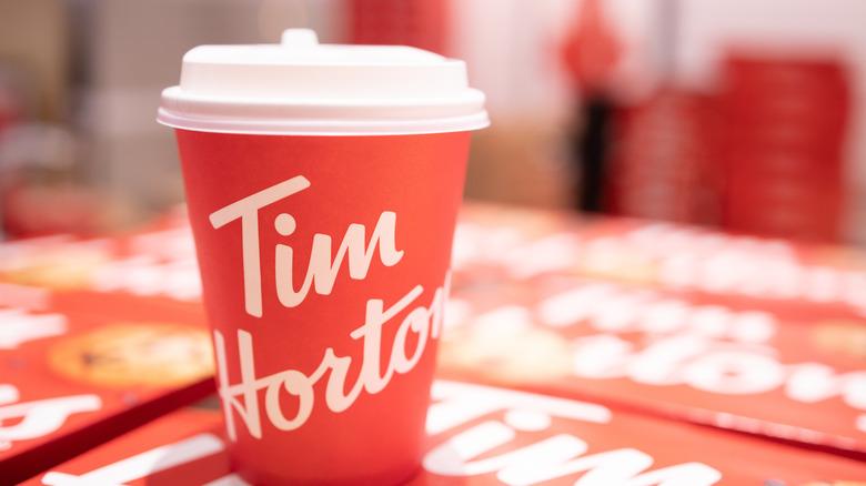 Tim Horton's cup in restaurant