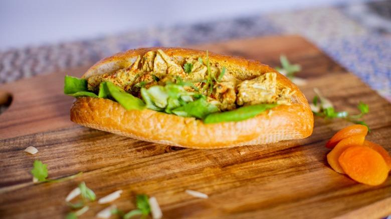 Coronation chicken salad on baguette