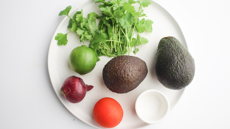 fresh ingredients for quick guacamole