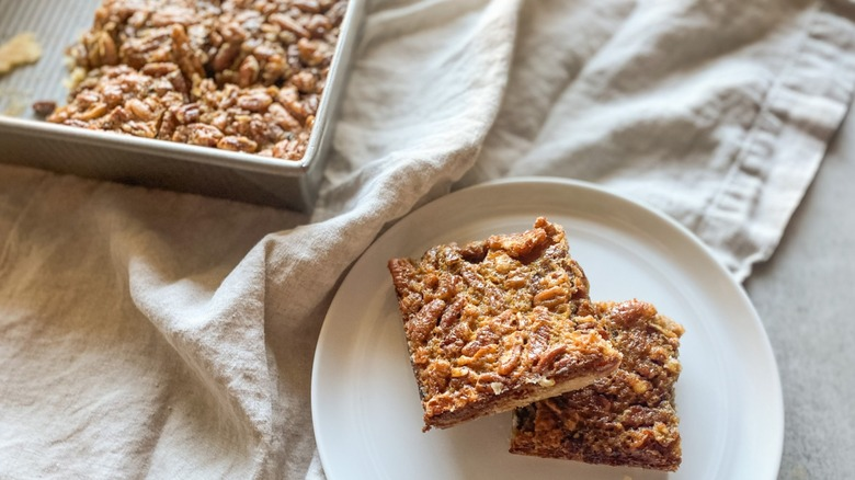 pecan pie bars dessert sliced