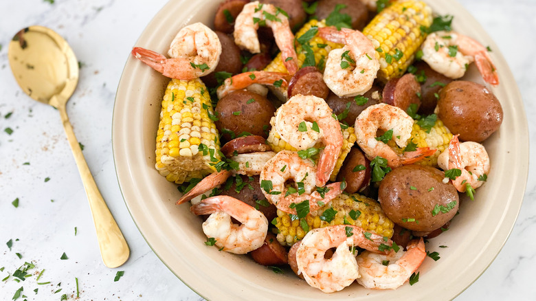 Quick Instant Pot Low Country Boil served in a bowl