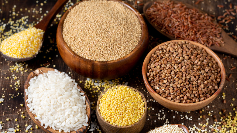 rice and quinoa among other grains