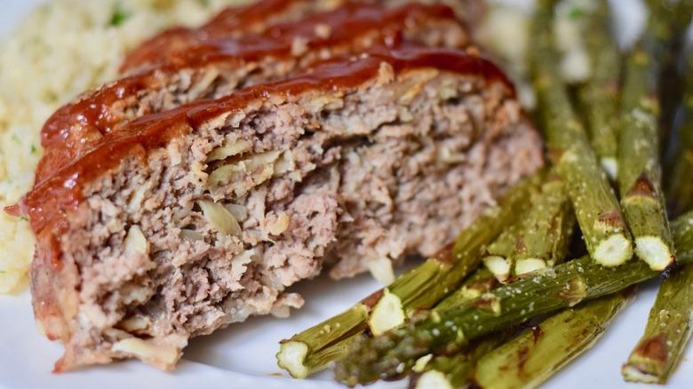 slice of meatloaf with glaze