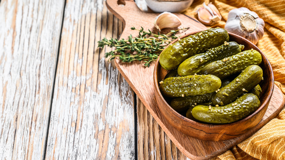 Pickles placed on tray
