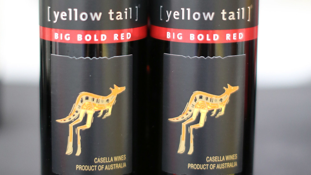 Two bottles of Yellow Tail wine