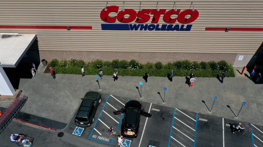 customers standing outside Costco