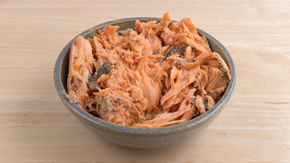 canned salmon in a bowl