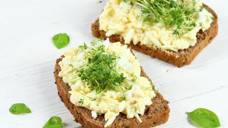 Creamy egg salad on toast