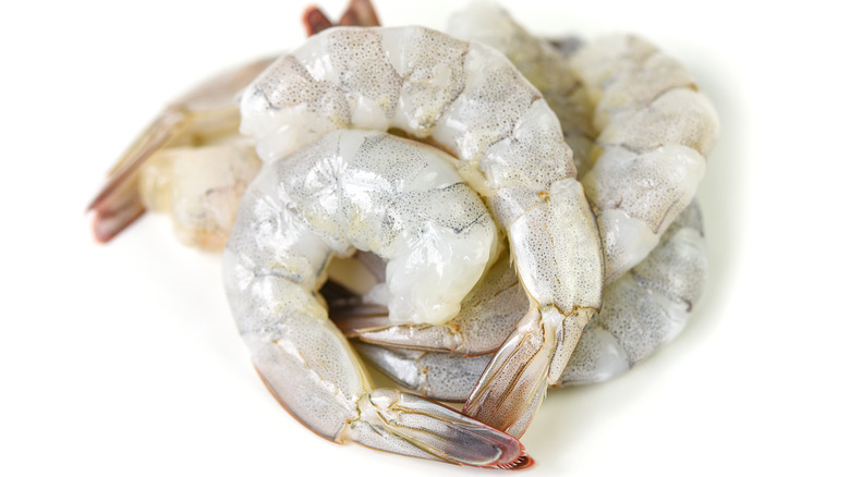 Raw shrimp with tail on