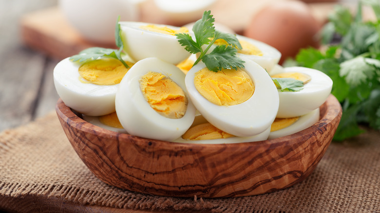Boiled eggs with parsley