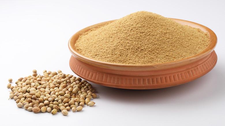 Ground coriander in a bowl