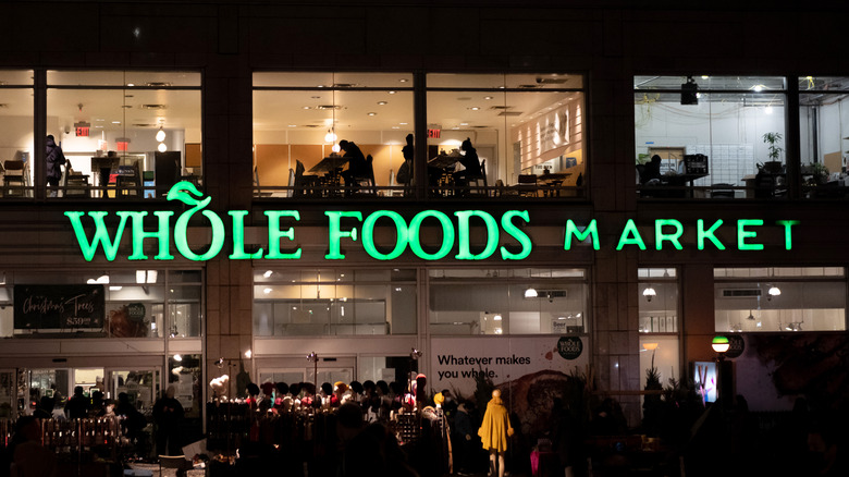 Outside of a Whole Foods at night